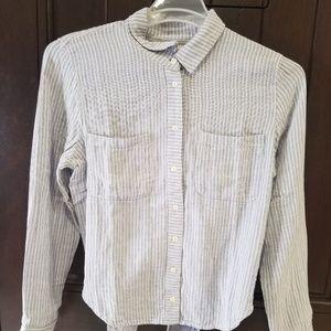 MADEWELL Tie-Back Button Down Shirt Stripe sz L